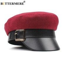a0a0e85116565 BUTTERMERE Femmes casquettes militaires Bourgogne De Laine chapeau de  capitaine Armée Dames Patchwork En Cuir Sailor Chapeaux Au.
