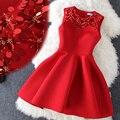2016 De Alta Qualidade Lantejoulas Chrismas Vestido de Inverno Vestido De Noite Vermelho Grosso Beading Partido vestido de festa Sem Mangas Vestido Feminino
