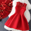 2016 High Quality Sequins Chrismas Dress Winter Evening Red Dress Thick Beading Party Sleeveless Dress Female vestido de festa