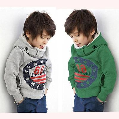 Autumn Winter Kids Baby Boys Long Sleeve Hooded Sweatshirts Jackets Gray Green Print Warm Coat Hoodies Clothes 2-7Year