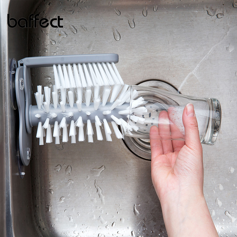 2018 New Sink Suction Cup Base <font><b>Cleaning</b></font> Bottle Glass Brush Kitchen <font><b>Cleaning</b></font> Wine Cup Cleaner Scrubber Double Brush Rotating