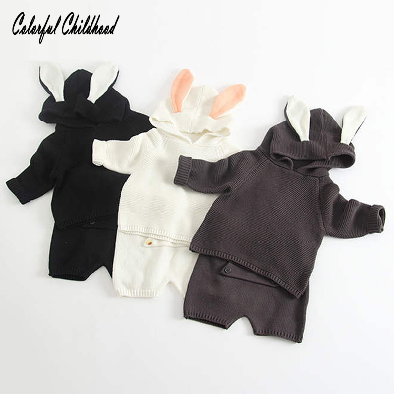 Winter Baby Clothing Set Warm Baby Boy/Girls Clothes Cotton knited hooded tops+shorts 2pcs set children clothes 0-24m