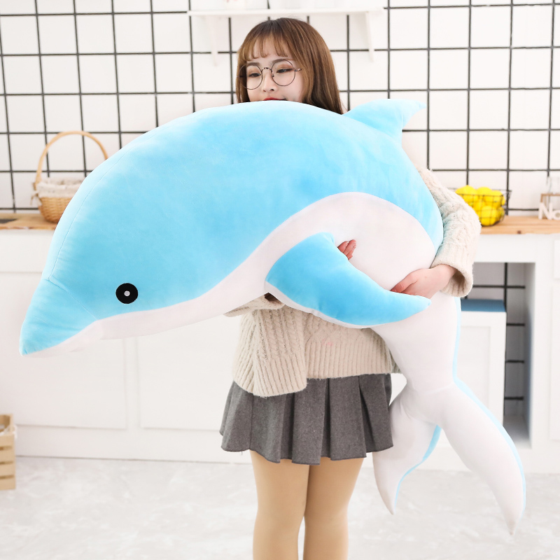 30-160CM kawaii soft dolphin plush toy plush cloth doll cotton animal nap pillow creative children's toys birthday gift girl