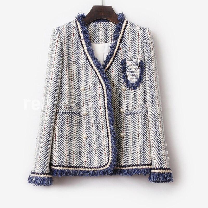 Синяя полосатая твидовая куртка 2019 Осень/Зима Женское пальто Collared Синяя Куртка женская куртка