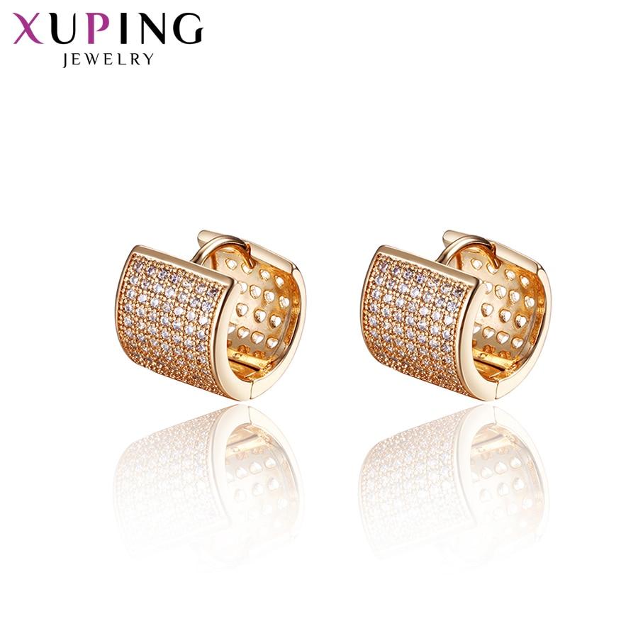 100% Wahr Xuping Schmuck Ohrringe Hoops Gold Farbe Überzogen Mode Charme Stil Mädchen Geschenke Für Weihnachten S86-20133