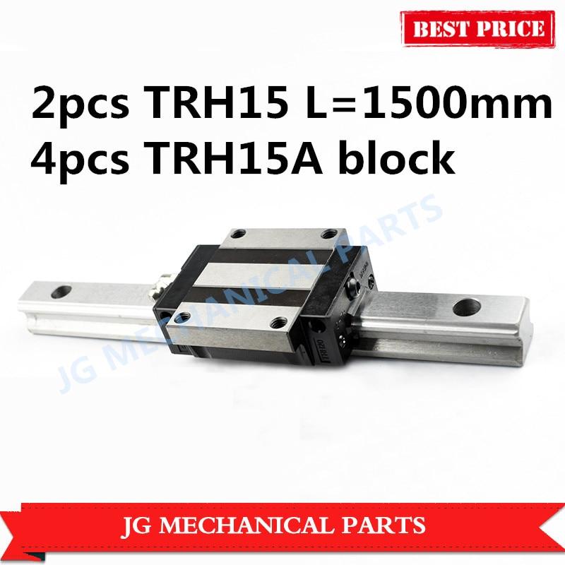 High quality 15mm Linear guide rail set:2pcs TRH15 L=1500mm linear motion guide with 4pcs TRH15A linear bearing block for CNC стоимость
