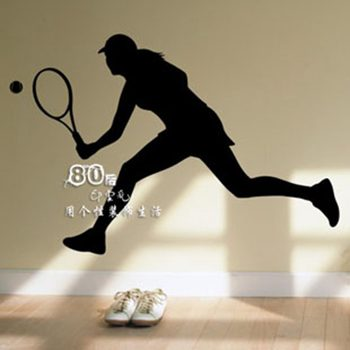 Women Tennis Wall Sticker Window Sports Name Posters Vinyl Wall Decals Home Decoration Decor Mural Tennis Car Decal image