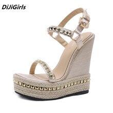 DiJiGirls New Arrival Wedges Women Platform Sandals Street Beat Punk Stud Sandals Woman Weave Summer Shoes Female High Heels Hot цена в Москве и Питере