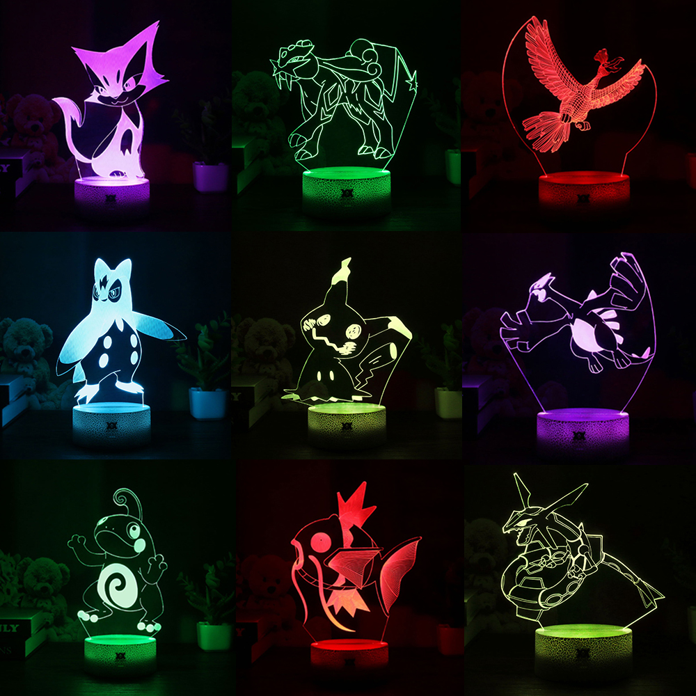 New Pokemon Mimikyu/Ho-Oh/Purrloin/Magikarp/Raikou/Rayquaza/Prinplup/Politoed/lugia Cartoon 3D Lamp LED Cool 7Color Night Light