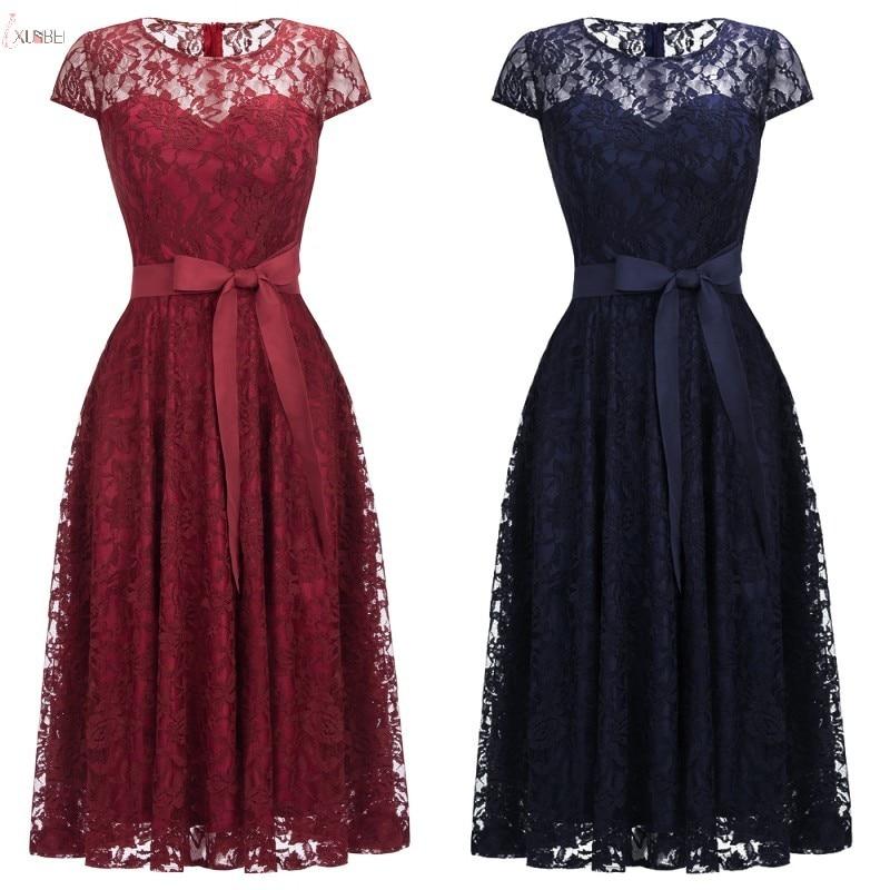 2019 Navy Burgundy Pink Lace Short Bridesmaid Dresses Scoop Neck Cap Sleeve Wedding Party Gown vestido madrinha