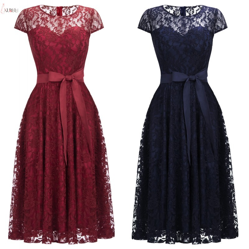 2019 Sexy Navy Blue Burgundy Pink Lace Short Bridesmaid Dresses Plus Size Cap Sleeve Wedding Party Guest Dress