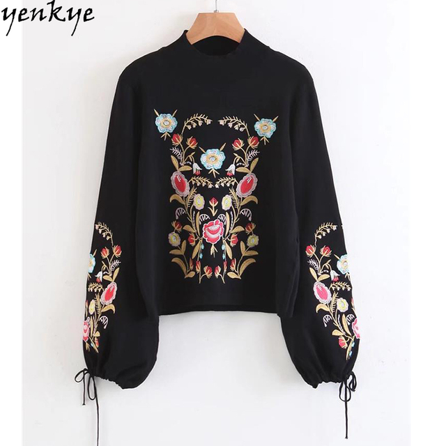 Floral Embroidered Women Sweater Tie Cuffs Lantern Sleeve Half