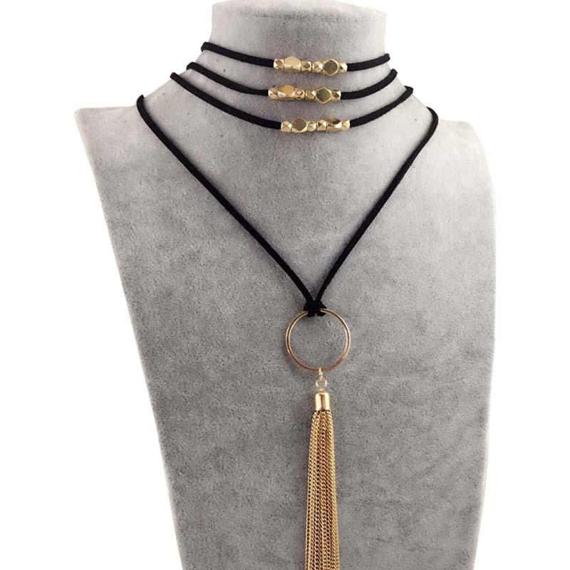DANZE Boho Multilayer Imitation Läder Choker Halsband För Kvinnor - Märkessmycken - Foto 3
