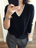 2018Autumn Winter new V neck sweater pure cashmere sweater 100% women loose casual spell color wool large size sweater