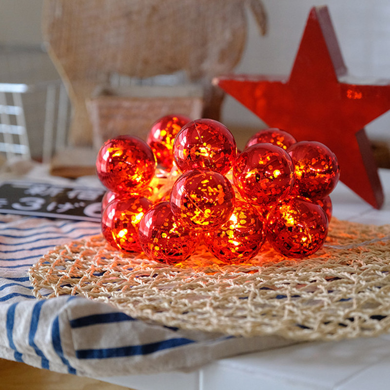 Lighting Strings 1 5M 3M LED Red Ball Battery Powered Creative Waterproof DIY Party New Year Christmas Decoration Fairy in Lighting Strings from Lights Lighting
