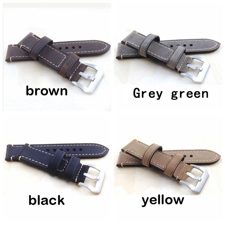 Men's Calfskin Strap For panerai, Fashion Leather Watch Bands, 20mm 22mm 24mm 26m Black Gray Yellow Brown Watch straps new matte red gray blue leather watchband 22mm 24mm 26mm retro strap handmade men s watch straps for panerai