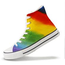 Fashion Rainbow Canvas Women Shoes 2019 New Lace-up Mixed Colors Flats Designer Casual High Top Sneakers Comfortable Platform цены онлайн