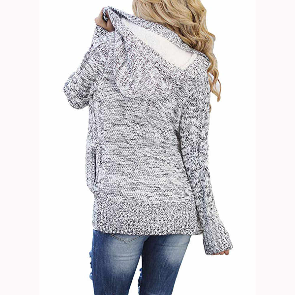 cf104bb1fcf5d ... Winter Warm Soft Thick Womens Hooded Cable Knit Button Down Outwear Sweater  Cardigans Coats with Pocket ...