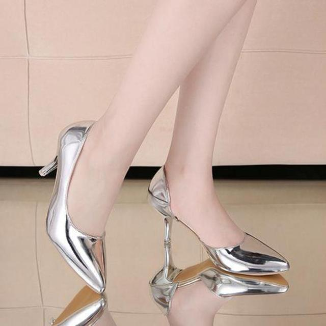 2017 Bright Leather Female Stilettos Gold Silver High Heels Basic Pumps Women's Soft Leather Cut-out Shoes Slip On Spring Autumn