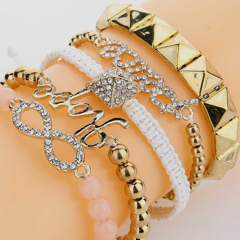 DANZE Brand 5 Pcs/lot Punk Hope & Peace & Infinity & Rivet Beads Bracelet Sets Women Gold color Bangle Multilayer Gift Jewelry
