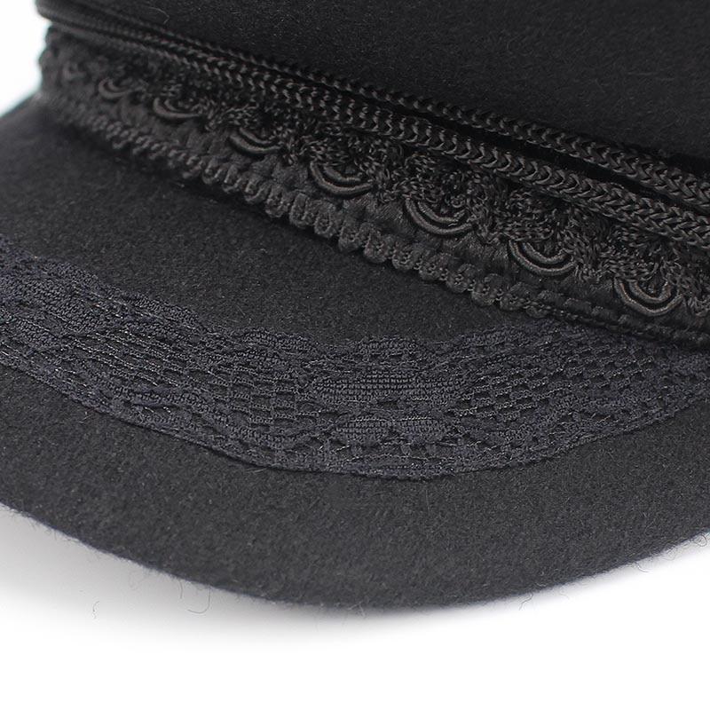 Army Military Hat Cap Women Fall Autu Winter lace Hats Black Korean  Literary British Military Hats Lady Flat Cap Gorra 2018