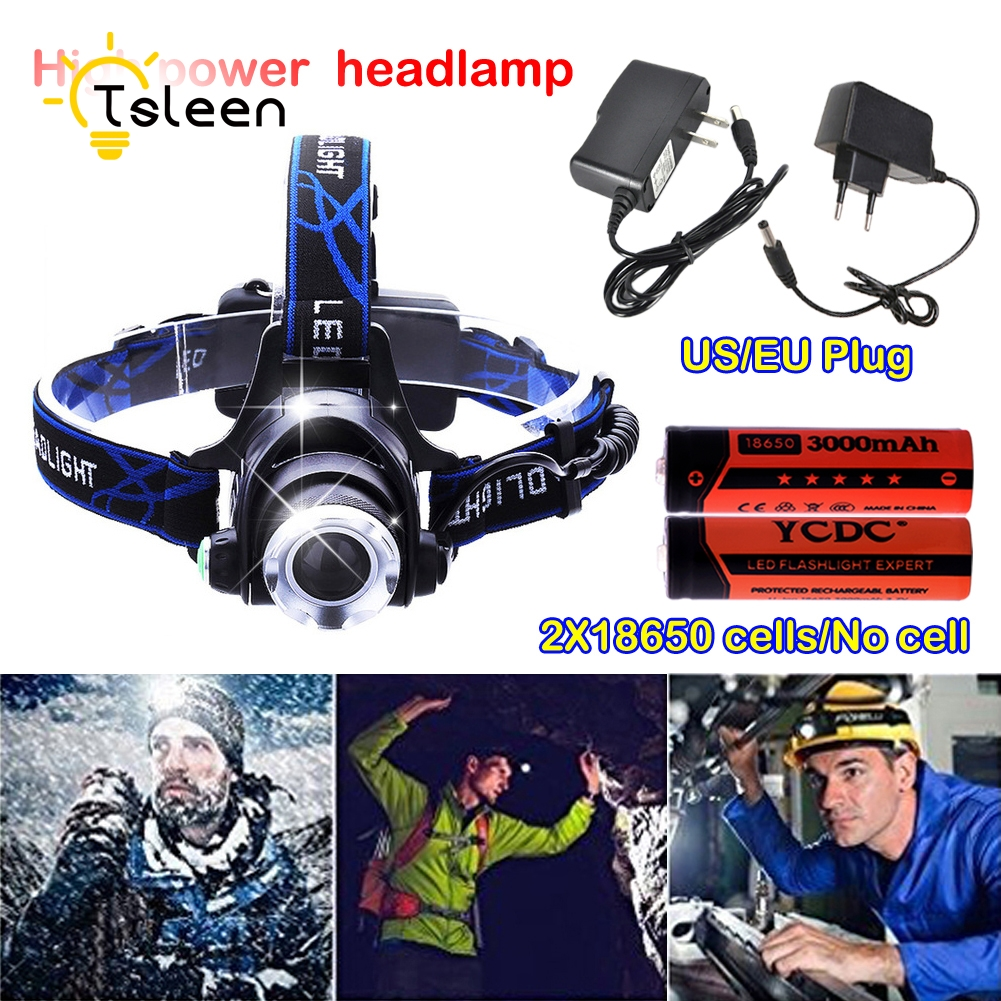 TSLEEN 2000LM LED T6 Headlamp Headlight Head Lamp lighting Light Flashlight Torch Lantern Fishing+18650 battery + US/EU Charger