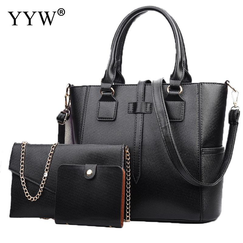 3 PCS/Set Solid Color PU Leather Handbags Women Bag Set Brands Tote Bag Lady's Shoulder Crossbody Bags Clutch Bag Womens'Pouch