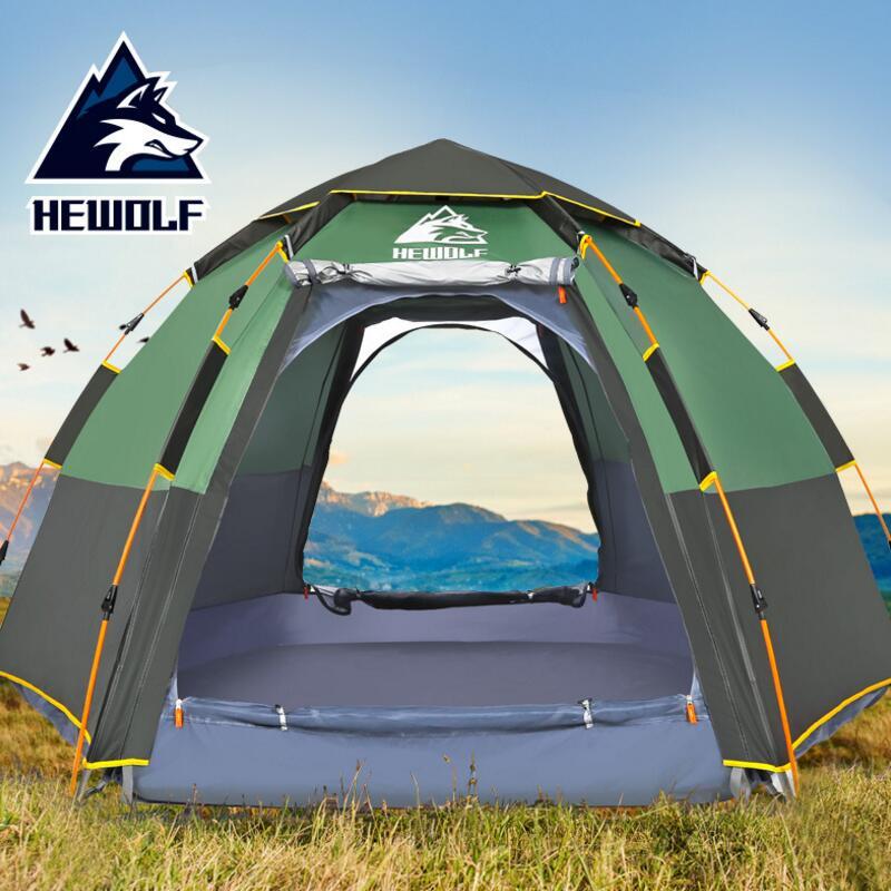 Hewolf tente-roulotte Rapide Automatique Ouverture Étanche Tourisme Voyage En Plein Air Tente 5 Personne Double Couches Famille tentes de camping