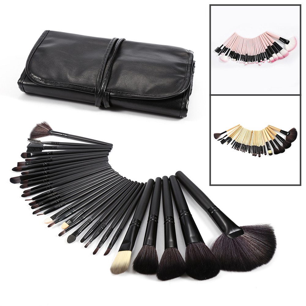 Professional 32Pcs Soft Makeup Brushes Set Cosmetic Foundation Powder Make up Brush Kit + Pouch Bag Makeup Tool Pincel Maquiagem professional cosmetic make up foundation soft brush black pink