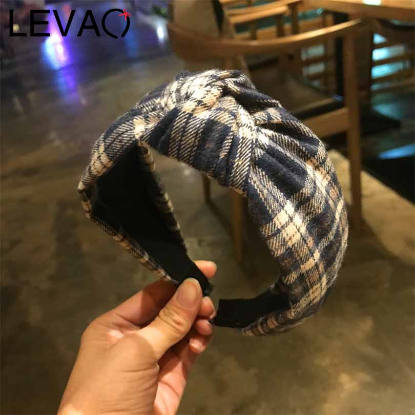 LEVAO Korean New Wide Side Plaid Print Solid Knot Bezel Turban Girls Headwear Headband Women Hairband Non-slip Hair Accessories