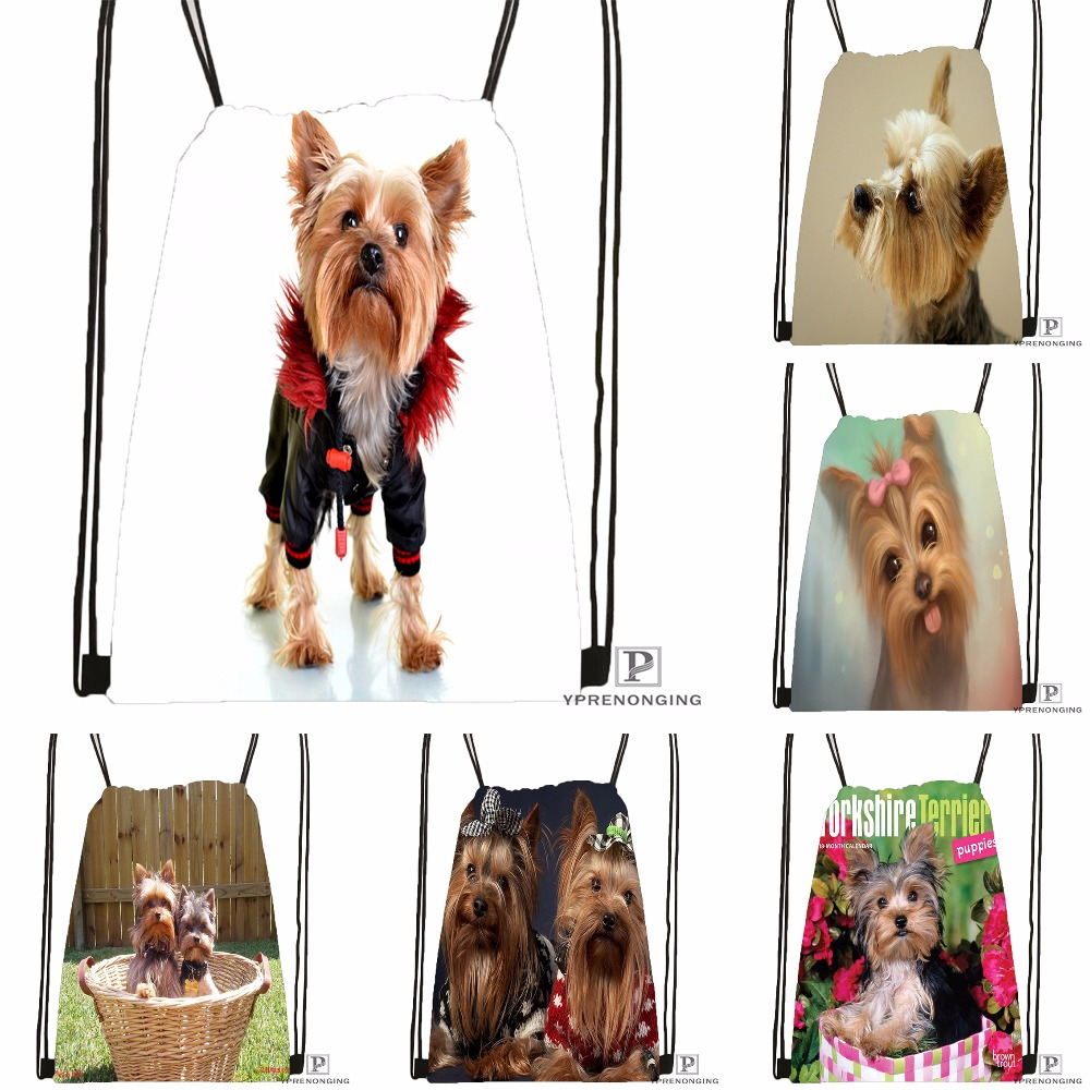 Custom Yorkshire Terrier Puppy Drawstring Backpack Bag Cute Daypack Kids Satchel (Black Back) 31x40cm#180531-03-22