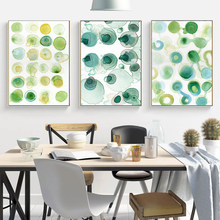 Minimalist Canvas Painting Circle Print Watercolor Poster Green Wall Art Nursery Kitchen Decor Paintings on The Wall No Frame(China)
