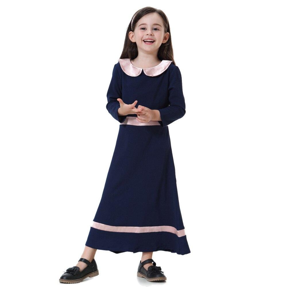 Muslim Dress Girl Arabic Dress Long Thobes Cute Children Moroccan Kaftan Maxi Dresses Abaya For Girls Islamic Clothes CN-063