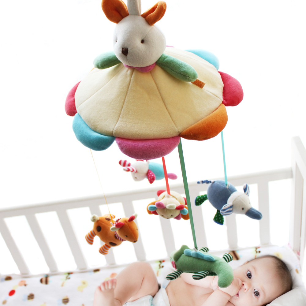 все цены на SHILOH Hot Sale Mamas&Papas Cot Hanging Toy Baby Rattle Toy Soft Plush Rabbit Musical Mobile Products 60 Songs Bunny Doll онлайн