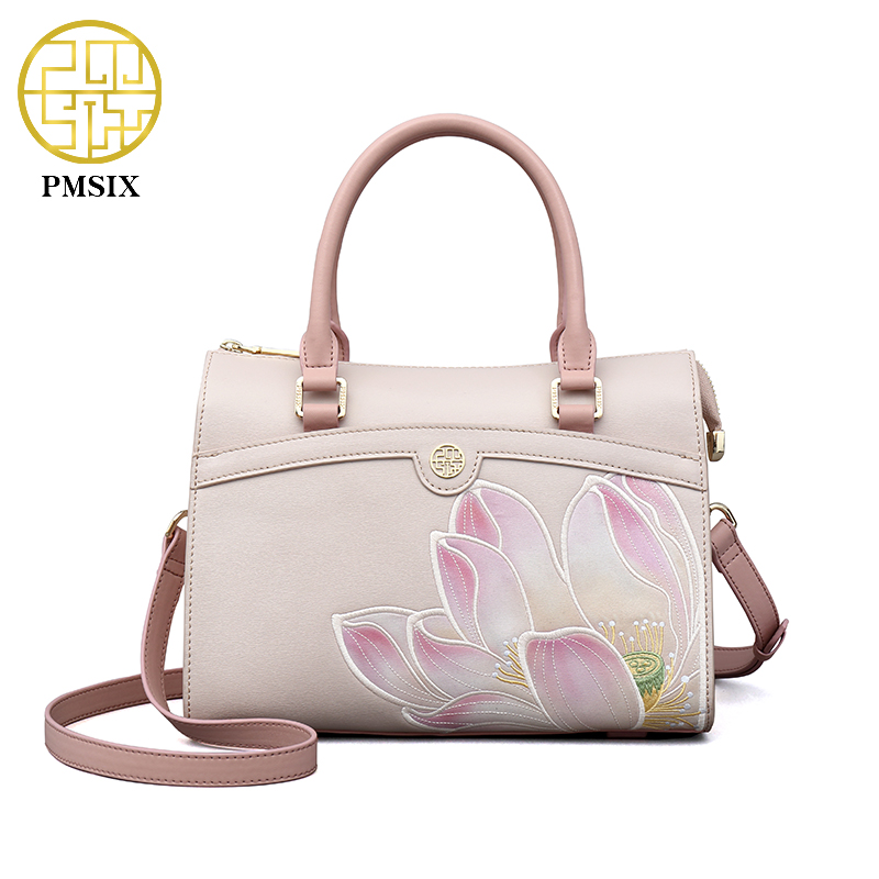 PMSIX 2017 Summer New Embroidery Lotus Ethnic Leather Handbag Fashion Pink China Shoulder Bag 120112 2016 summer national ethnic style embroidery bohemia design tassel beads lady s handbag meessenger bohemian shoulder bag