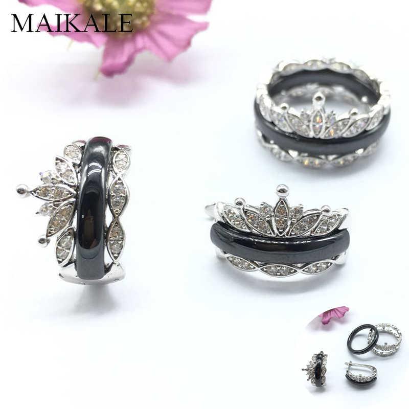 Maikale Vintage Perhiasan Set Keramik Anting-Anting Cincin Zircon CZ Mahkota Anting-Anting Cincin Set untuk Wanita Pernikahan Perhiasan Set Hadiah Pesta