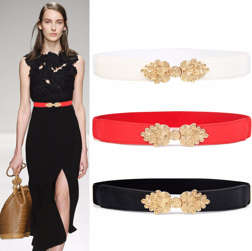 Fashion Vintage Gold Buckle Cummerbund Thin Elastic Waistbands HOT Solid Design Women's Belt Stretch Female Apparel Accessories