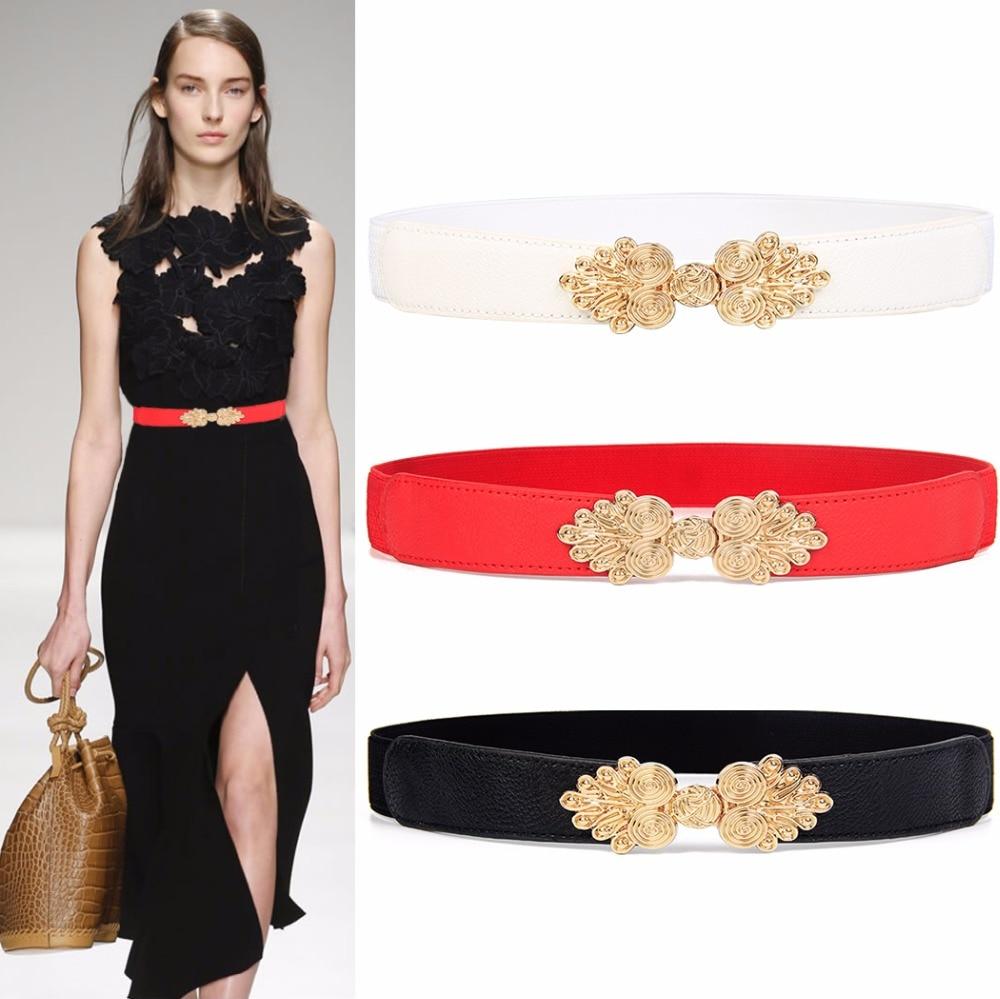 Fashion Vintage Gold Buckle Cummerbund Thin Elastic Waistbands HOT Solid Design Women's Belt Stretch Female Apparel Accessories
