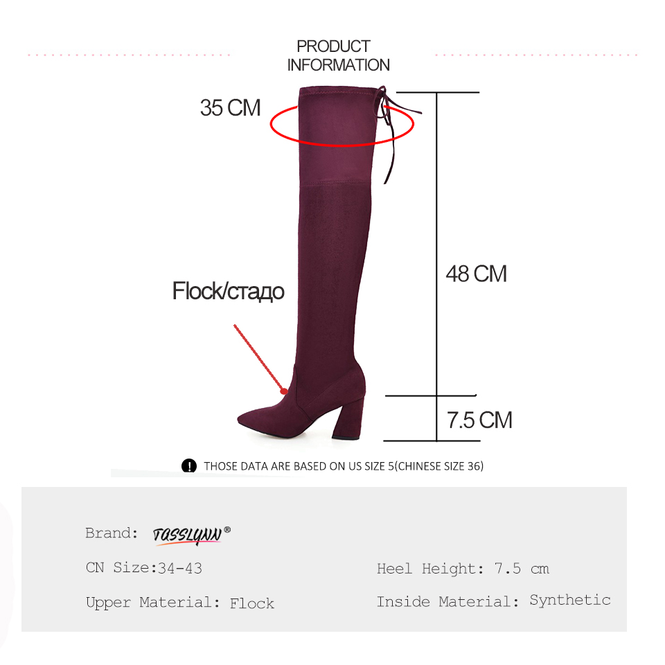 TASSLYNN 2018 Pointed Toe Women Boots Square High Heel Winter Boots Over The Knee Boots Sexy Stretch Fabric Party Women Boots