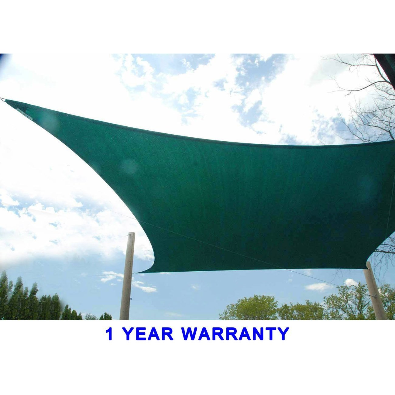 Jinguan Net 13 X 13 Ft 185G HDPE Square Sun Sail Shade Canopy UV Block Top  Outdoor Cover Patio Garden Dark Green