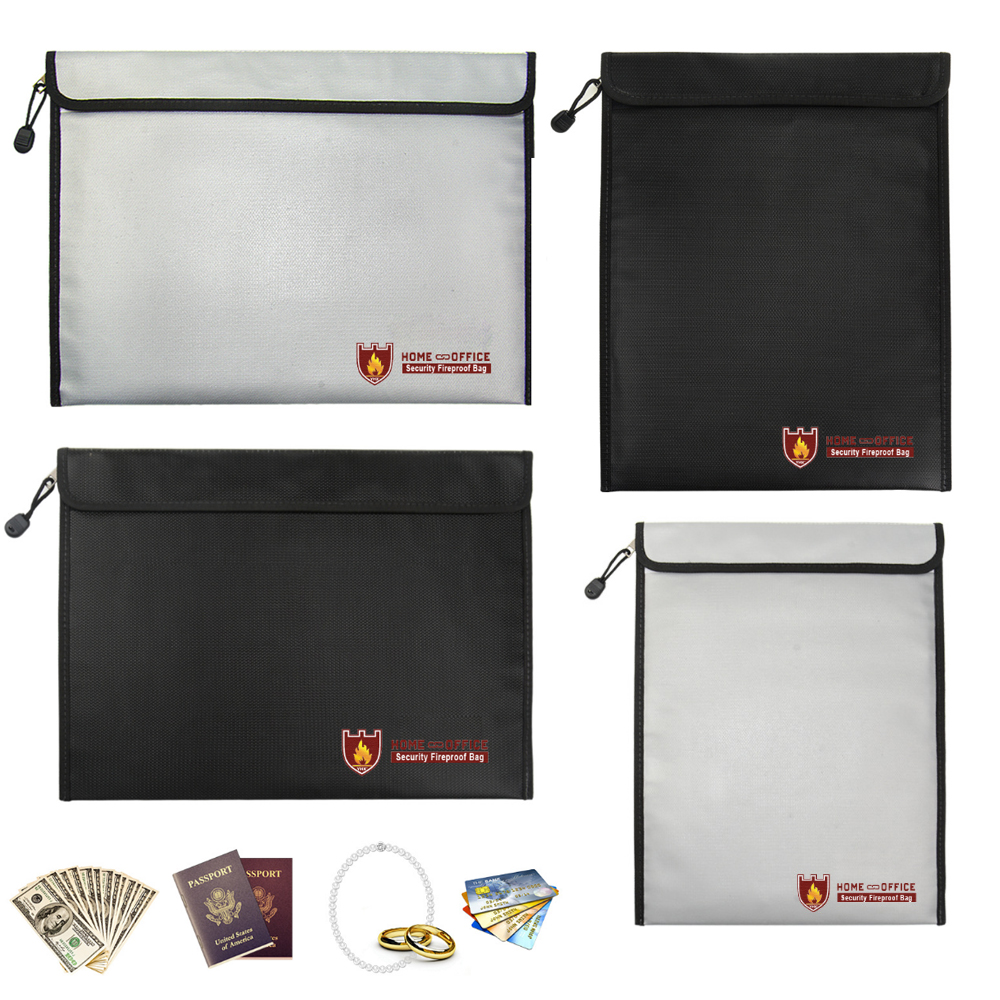 Fireproof Document Bag Liquid Silicone Coated Fire Resistant Money File Folder Holder Organizer Safe Storage Waterproof 38*28cm