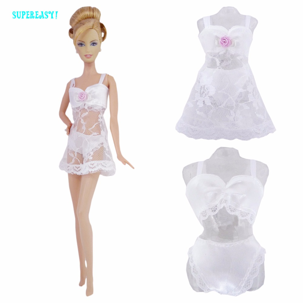 Free Shipping  White Sexy Pajamas Lingerie Nightwear Lace Night Dress + Bra + Underwear Clothes For Barbie Doll Skirt Clothes