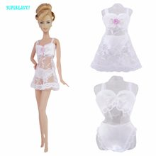 Free shipping White Sexy Pajamas Lingerie Nightwear Lace Night Dress + Bra + Underwear Clothes For Barbie Doll Skirt Clothes(China)