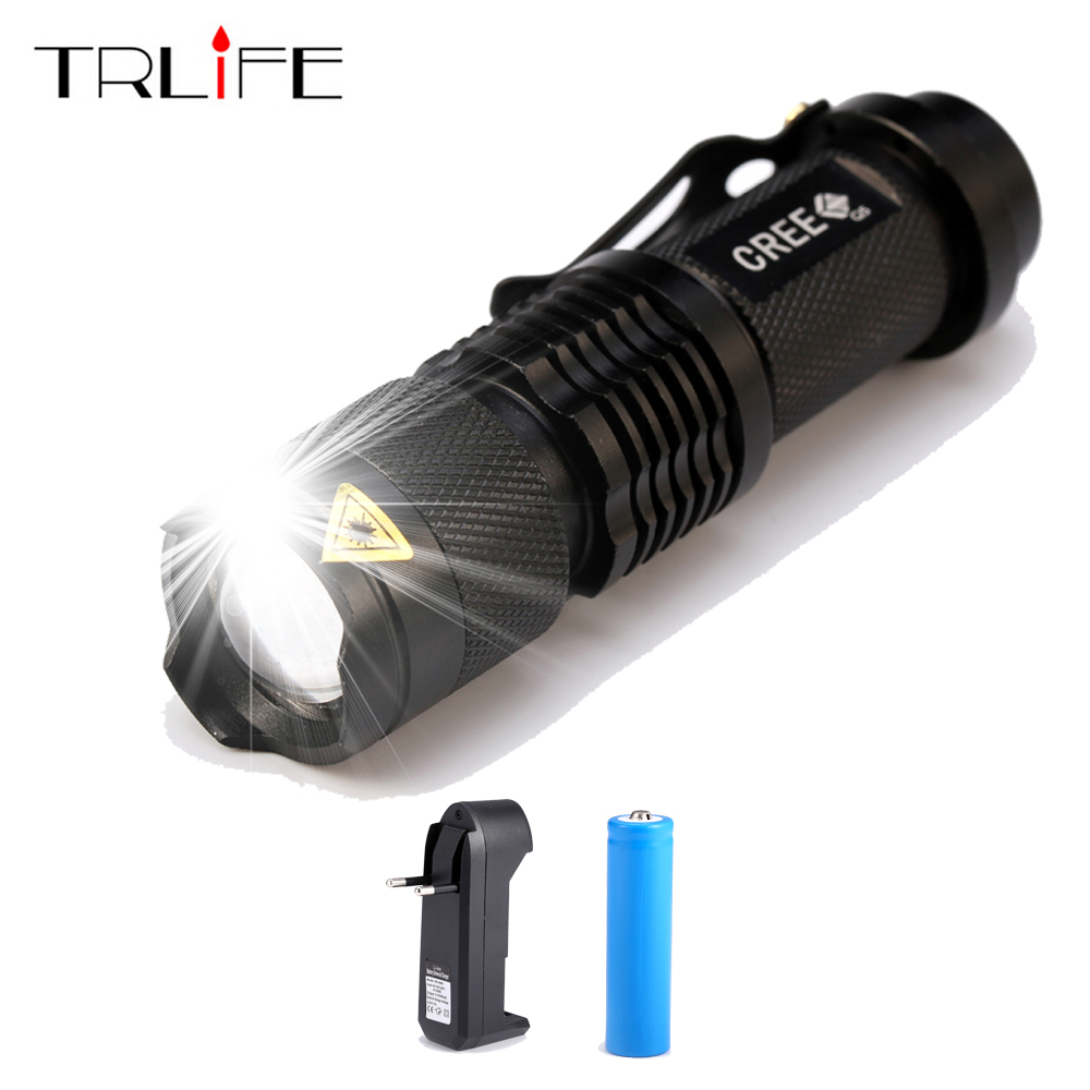 New Mini Flashlight 3800 Lumens CREE Q5 LED Torch 14500 Adjustable Zoom Focus Torch Lamp PenlightWaterproof With Charger+Battery ultrafire sk68 80 150lm 3 mode white light zooming flashlight xr e q5 led lamp pocket torch 1 x 14500 battery charger