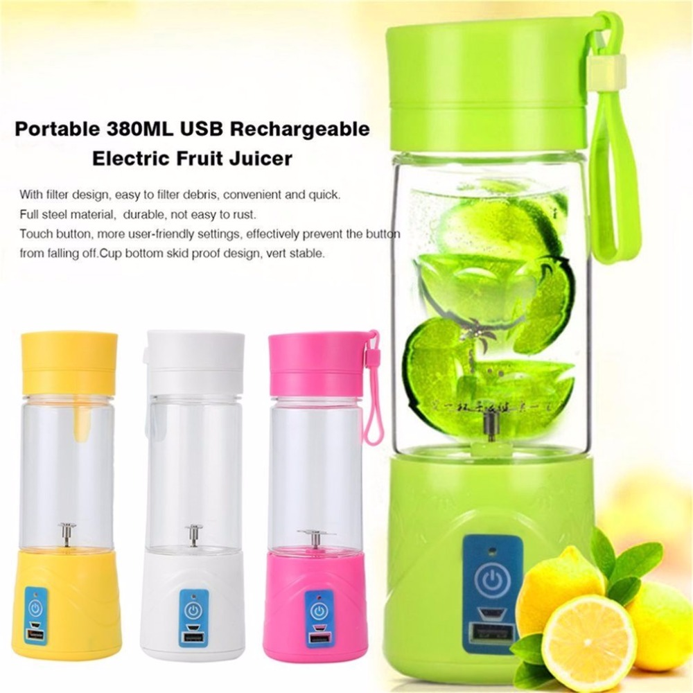 Portable Juicer Rechargeable Battery Portable Radio New Zealand Best Portable Air Compressor For Jeep Wrangler Portable Electric Air Compressor For Car Tires: Fashion 380ml Portable Juicer Bottle Cup Rechargeable