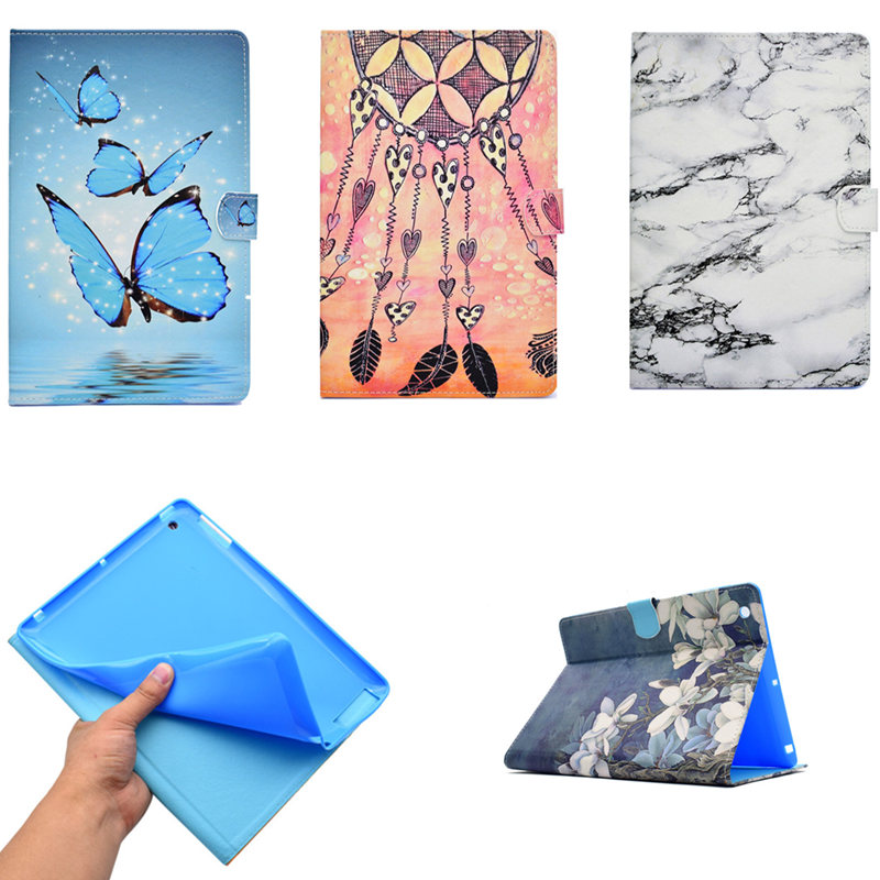 Tablet Case For Ipad 2 3 4 Marbling Case Kids PU Leather Blue Butterfly Flip Stand Cover For Apple IPad2 ipad3 ipad4 tablet PC for apple ipad mini 4 case flip grape patterns pu leather protective cover rotate tablet pc stand shock resistant coque para