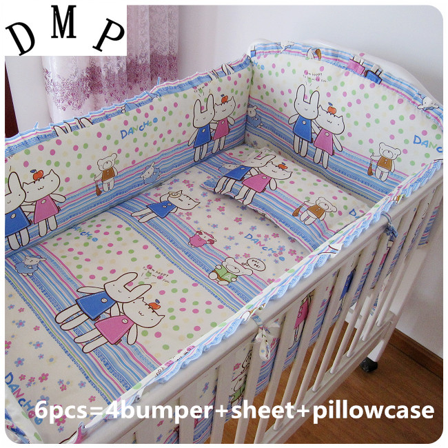 Promotion! 6PCS Baby Cot Bedding Set For Cot and Crib Cradle Bed Linen (bumpers+sheet+pillow cover)