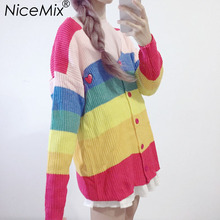NiceMix 2019 Autumn Casual Knitted Cardigan Sweater Women Kawaii Harajuku Colorful Striped Sweaters Coats Pull Femme