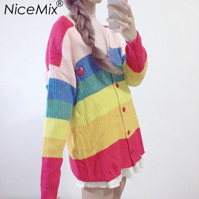 NiceMix 2019 Autumn Casual Knitted Cardigan Sweater Women Kawaii Harajuku Colorful Striped Sweaters Coats Pull Femme