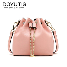 DOYUTIG Luxury Womens Genuine Leather Bucket Bags Classical Pink Color Real Cow Fashion Handbags & Crossbody F611